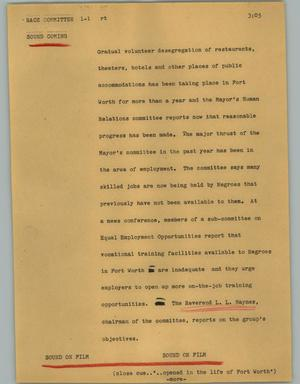 Primary view of object titled '[News Script: Race committee]'.