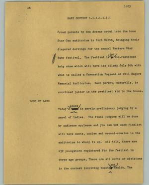 Primary view of object titled '[News Script: Baby contest]'.