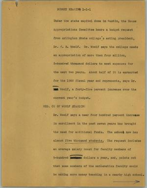 Primary view of object titled '[News Script: Budget hearing]'.