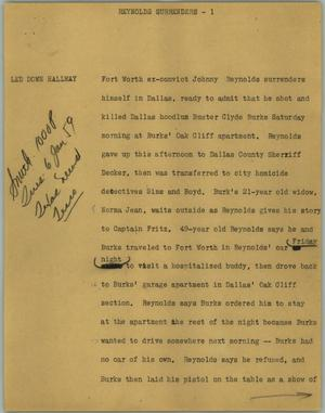 Primary view of object titled '[News Script: Reynolds surrenders]'.