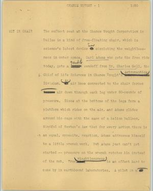 Primary view of object titled '[News Script: Chance Vought]'.
