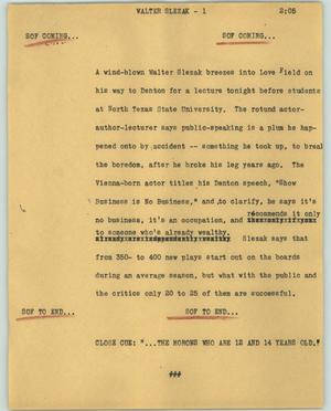 Primary view of object titled '[News Script: Walter Slezak]'.