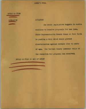 Primary view of object titled '[News Script: Green's bill]'.