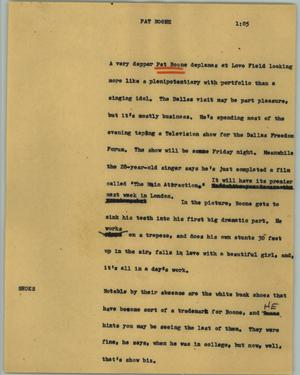 Primary view of object titled '[News Script: Pat Boone]'.