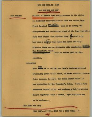 Primary view of object titled '[News Script: Bye bye byrd-ie]'.