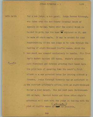 Primary view of object titled '[News Script: Judge Fitzhugh]'.