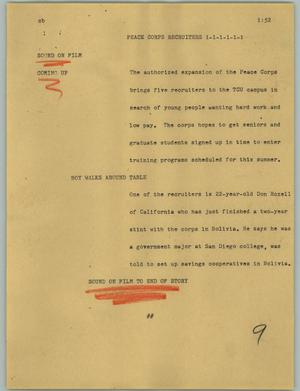 Primary view of object titled '[News Script: Peace Corps recruiters]'.