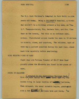 Primary view of object titled '[News Script: Cook hospital]'.