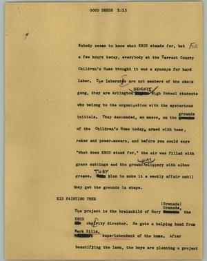 Primary view of object titled '[News Script: Good deeds]'.