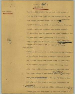 Primary view of object titled '[News Script: Artists]'.