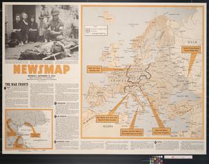 Primary view of object titled 'Newsmap. Monday, September 13, 1943 : week of September 2 to September 9, 209th week of the war, 91st week of U.S. participation'.