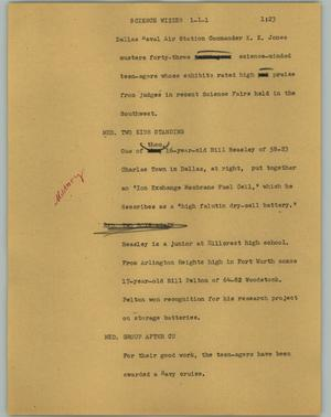 Primary view of object titled '[News Script: Science wizzes]'.