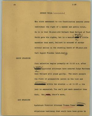 Primary view of object titled '[News Script: Speedy trial]'.