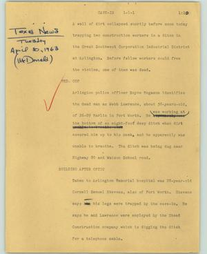 Primary view of object titled '[News Script: Cave-in]'.