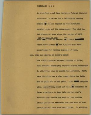 Primary view of object titled '[News Script: Riverlake]'.