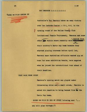 Primary view of object titled '[News Script: Roy Emerson]'.