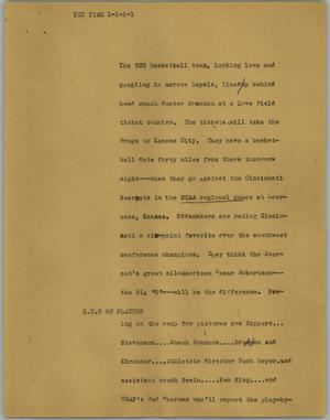 Primary view of object titled '[News Script: TCU team]'.