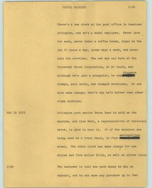Primary view of object titled '[News Script: Postal machine]'.