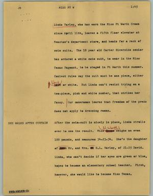 Primary view of object titled '[News Script: Miss Ft W]'.