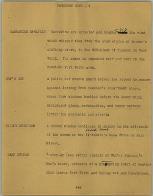 Primary view of object titled '[News Script: Downtown wind]'.