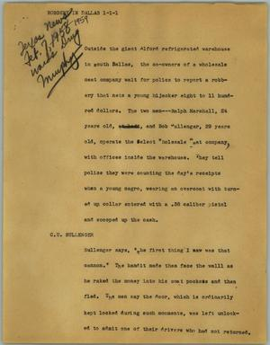 Primary view of object titled '[News Script: Robbery in Dallas]'.