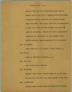 Primary view of object titled '[News Script: Country club]'.