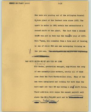 Primary view of object titled '[News Script: GM plant]'.