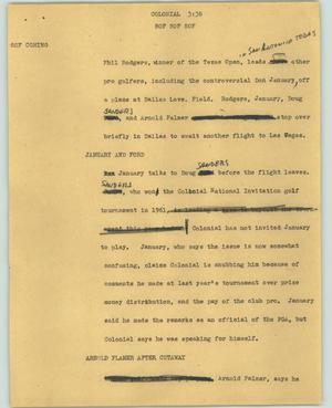 Primary view of object titled '[News Script: Colonial]'.