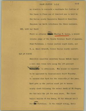 Primary view of object titled '[News Script: Peace justice]'.