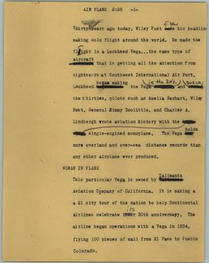 Primary view of object titled '[News Script: Air plane]'.