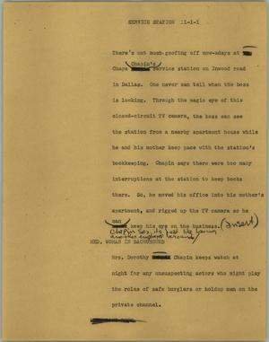 Primary view of object titled '[News Script: Service station]'.