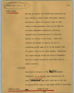 Primary view of object titled '[News Script: Poverty war]'.