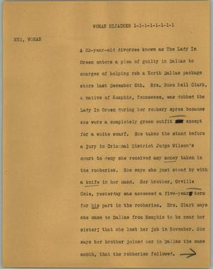 Primary view of object titled '[News Script: Woman hijacker]'.