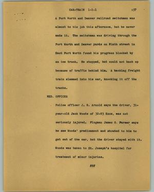 Primary view of object titled '[News Script: Car train]'.