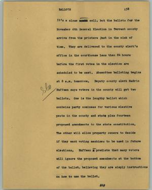 Primary view of object titled '[News Script: Ballots]'.