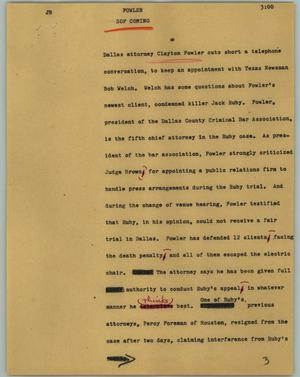 Primary view of object titled '[News Script: Fowler]'.