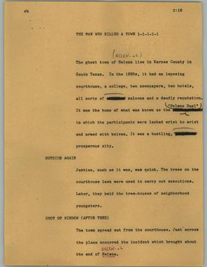 Primary view of object titled '[News Script: The man who killed a town]'.
