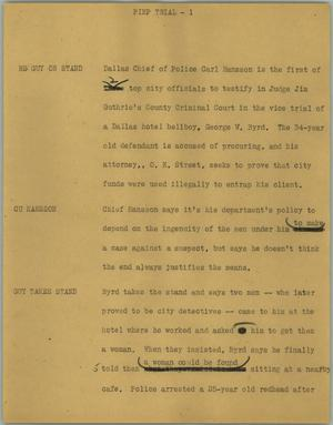 Primary view of object titled '[News Script: Pimp trial]'.