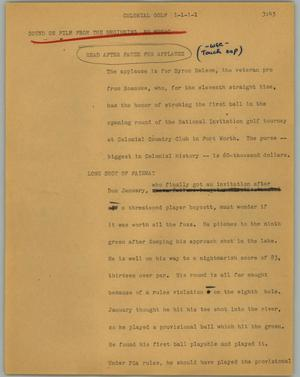 Primary view of object titled '[News Script: Colonial golf]'.