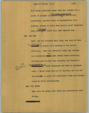 Primary view of object titled '[News Script: Dean of police]'.