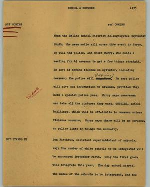 Primary view of object titled '[News Script: School & newsmen]'.