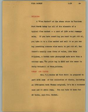 Primary view of object titled '[News Script: Flea market]'.