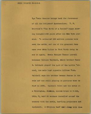 Primary view of object titled '[News Script: Bowie theater]'.