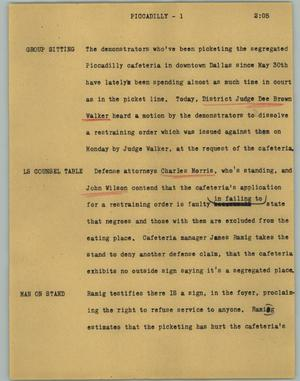 Primary view of object titled '[News Script: Piccadilly]'.