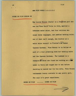 Primary view of object titled '[News Script: Miss world]'.