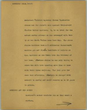 Primary view of object titled '[News Script: Morrison trial]'.