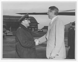 Primary view of object titled '[Stan Kenton and unidentified Air Force officer]'.