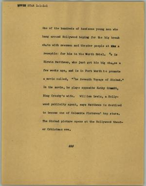 Primary view of object titled '[News Script: Star]'.