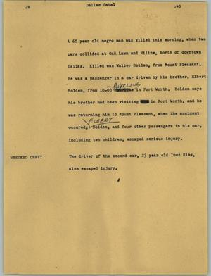 Primary view of object titled '[News Script: Dallas fatal]'.