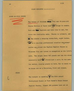 Primary view of object titled '[News Script: Giant minister]'.